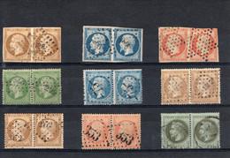 SIX PAIRES DU TIMBRE NAPOLEON III. N° 13A, 14Aa, 16, 20, 21, 21b, 22, 23, 25 - 1853-1860 Napoleon III