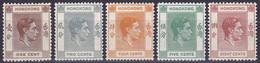 Hong Kong YT 140-141-142-143-144 Année 1938 (MNH-MH) (Voir Déscription) (2 Scan) - Unused Stamps