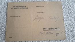 Postkarte Zum Streifendienst Befohlen Volkssturm Dienststempel Schutzpolizei  - Dienstabteilung Mittenwald 1945 - 1939-45