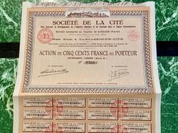 SOCIÉTÉ  De  La  CITÉ  ( Carcassonne ) --------Action  De  500 Frs - Tourism