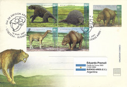 Argentina 2001 Saber-toothed Tiger Smilodon Glyptodon Macrauchenia Megatherium Sloth Prehistory FDC Cover - Prehistóricos