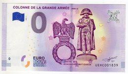 2018-1 BILLET TOURISTIQUE FRANCE 0 EURO SOUVENIR N°UEHC001819 COLONNE DE LA GRANDE ARMEE WIMILLE NAPOLEON - Essais Privés / Non-officiels
