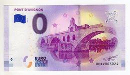 2018-4 BILLET TOURISTIQUE FRANCE 0 EURO SOUVENIR N°UEDV003026 PONT D'AVIGNON - Essais Privés / Non-officiels