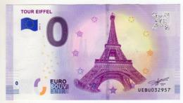 2019-4 FRANCE BILLET TOURISTIQUE 0 EURO SOUVENIR N° UEBU032382 TOUR EIFFEL - Essais Privés / Non-officiels