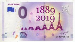 2019-5 FRANCE BILLET TOURISTIQUE 0 EURO SOUVENIR N° UEBU068357 TOUR EIFFEL 1889-2019 - Essais Privés / Non-officiels