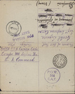 Guerre 40 Correspondance Prisonnier De Guerre Italien Cachet P.O.W. E.A.F. 366 Jinja Ouganda Censure Angleterre - Kenya & Uganda