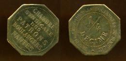 NANTES (44) // CHAMBRE SYNDICALE DES PATRONS BOULANGERS // 1/4 DECIME // Laiton - Monétaires / De Nécessité