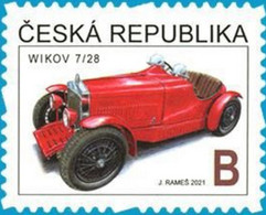 Czech Republic - 2021 - Historical Cars - Wikov 7/28 Sport Roadster - Mint Self-adhesive Definitive Stamp - Ungebraucht