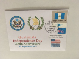 (4 A 13) Guatemala 200th Anniversary Of Independence  Cover - Postmarked 15 September 2021 (UN TAG Flag Stamp) - Guatemala