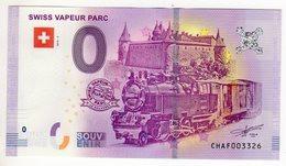 2018-2 BILLET TOURISTIQUE SUISSE 0 EURO SOUVENIR N°CHAF003325 VAPEUR BLANC Le Bouveret Train - Essais Privés / Non-officiels