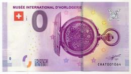 2018-1 BILLET TOURISTIQUE SUISSE 0 EURO SOUVENIR N°CHAT001062 MUSEE INTERNATIONAL DE L'HORLOGERIE - Essais Privés / Non-officiels