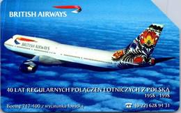 (3-10-2021 E) Phonecard -  Poland - (1 Phonecard)  Aircraft British Airways - Aerei