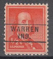 USA Precancel Vorausentwertungen Preos, Locals Indiana, Warren 745 - Vorausentwertungen