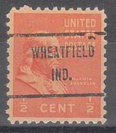 USA Precancel Vorausentwertungen Preos, Locals Indiana, Wheatfield 719 - Vorausentwertungen
