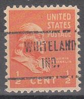 USA Precancel Vorausentwertungen Preos, Locals Indiana, Whiteland 721 - Vorausentwertungen
