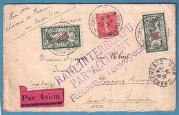 Envel Affr 10fr Merson X2 + 50c POSTE AERIENNE NICE-INDOCHINE /1929 RAID INTERROMPU/PAR ACCIDENT + Retour - 1927-1959 Brieven & Documenten