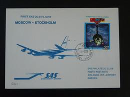 Lettre Premier Vol First Flight Cover Moscow --> Stockholm Sweden Douglas DC8 SAS 1979 Ref 100047 - Storia Postale