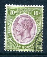 British Honduras 1922-33 KGV - Wmk. Mult. Script CA - 10c Dull Purple & Sage-green Used (SG 132) - British Honduras (...-1970)