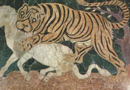 Tiger Hunting Eating Goat Che Assale Un Vitello Italian Postcard - Sculture