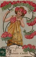 Belle Illustrée ART NOUVEAU . Jolie Femme Parmi Les Roses - Femmes