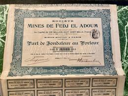 Sté  Des  MINES  De  FEDJ  EL  ADOUM  ------------ Part  De  Fondateur - Mines