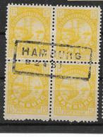 Privatpost Hamburg, Guter Werte-Block Der Ausgabe Der Hammonia I-Gesellschaft  Von 1887 - Private