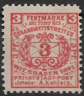 Privatpost Wiesbaden, Guter Wert Der Ausgabe Der Privat-Stadt-Post-Gesellschaft A. Kahleis Von 1891 - Private