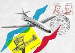 CARTE 40EME ANNIVERSAIRE DE L AVIATION COMMERCIALE AIR FRANCE, CACHET ILLUSTRE AVION, FARMAN GOLIATH, CARAVELLE 1959 - 1927-1959 Brieven & Documenten