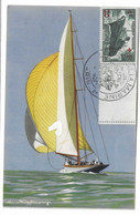 59 SM - SALON DE LA MARINE 1943 - YACHTS - AVEC SON SPINNAKER -Illustrateur L. HAFFNER -  Cachet à Date 14  Juin 1943 - Posta Marittima
