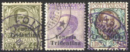 O 1918, Trentino, 45 Cent. + 50 Cent. + 1 Lira, 3 Val. Usati, Due Val. Firm. Em. Diena (S. 25-27 / 900,-) - Trentino