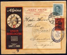 Cover 1918, II Tipo, 10 Heller Rosso Mattone Più 10 Heller D' Austria Su Lettera Pubblicitaria Da Naturno 2.12.1918 Per  - Merano