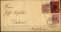Cover 1918, II° Tipo, 10 Heller Rosso Mattone Su Lettera Con Affrancatura Aggiuntiva Due Esemplari 10 Cent. Leoni Da Alg - Merano