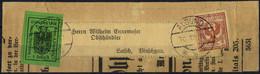 Cover 1918, IV° Tipo, 2 Heller Verde Con Affrancatura Aggiuntiva 2 Cent. Floreale Su Fascettta Da Algund 10.12.1918 Per  - Merano