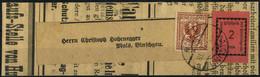 Cover 1918, Prima Emissione, Fascetta Da Algund 27.11.1918 Per Malles Affrancata Con 2 Heller Rosa Più Affrancatura Aggi - Merano