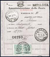 Cover 1925, Segnatasse Per Vaglia, Due 40 C. Verde Su Vaglia Da Marsa Susa Il 19.3, Sass. 2 / 1100,- - Cirenaica