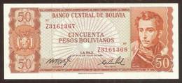 BOLIVIA. 50 Pesos Bolivianos L.1962. Pick 162. UNC. ERROR. 2 Consecutive Serial Numbers. - Bolivia