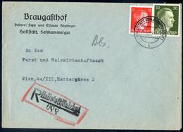 """Cover """"Hallstatt(Salzkammergut)"""", Eingeschriebener Brief Vom 26.6.44 Nach Wien Frankiert über 42 Pfg Mit Hitlermarken 12 - Zonder Classificatie"""