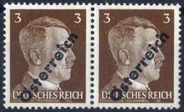 """** 1945, 3 (Pfg.) Dunkelbraun, Aufdruckabart """"cn"""" Im Paar Mit Normalmarke, Attest Sturzeis, Sign. Wallner, ANK (8) / 275 - Zonder Classificatie"""