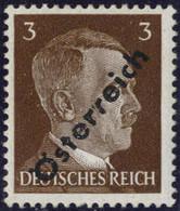 """** 1945, 3 (Pfg.) Dunkelbraun, Aufdruckabart """"gespaltenes R"""", Attest Sturzeis, ANK (8)b / 160,- - Zonder Classificatie"""
