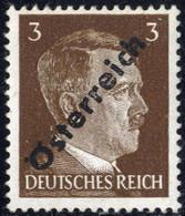 """** 1945, 3 (Pfg.) Dunkelbraun, Aufdruckabart """"Punkt Im H"""" Und Abklatsch, Attest Sturzeis, ANK (8)b / Ca 400,- - Zonder Classificatie"""