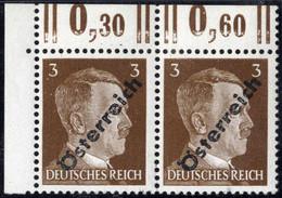 """** 1945, 3 (Pfg.) Dunkelbraun, Paar Aufdruckabart """"kurzes R"""", Attest Sturzeis, ANK (8)b / 235,- - Zonder Classificatie"""