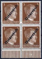 **/bof 1945, 3 (Pfg.) Gelbbraun, Unterer Randviererblock, ANK (8)a / 420,- - Zonder Classificatie