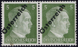 ** 1945, 5 (Pfg.) Grasgrün, Paar Mit Doppeltem Aufdruck Wovon Einer Blind, Abklatsch, Attest Sturzeis, ANK 660D(D) - Zonder Classificatie