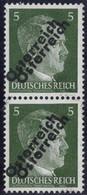 """** 1945, 5 (Pfg.) Graugrün, Senkrechtes Paar Mit Doppeltem Aufdruck Mit Aufdruckabart """"h Mit Fuß"""", Untere Marke Mit Bug, - Zonder Classificatie"""