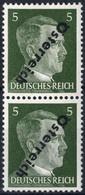 ** 1945, 5 (Pfg.) Graugrün, Senkrechtes Paar Mit Doppeltem Kopfstehenden Aufdruck Wovon Einer Blind, Attest Sturzeis Für - Zonder Classificatie