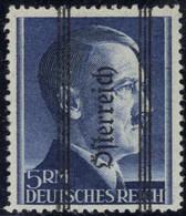 """** 1945, Grazer Aufdruck, 5 RM Mit Magerem Aufdruck, Aufdruckabart """" Schwaches Und Starkes Rr"""", Attest Glavanovitz, ANK  - Zonder Classificatie"""