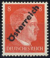 """** 1945, I. Wiener Aushilfsausgabe, 8 Pfg. Orangerot, """"Doppeldruck Im Blinddruck Mit Abklatsch"""", Kurzbefund Soecknick (A - Zonder Classificatie"""