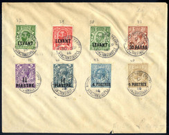 Cover 1914, König Georg V, Brief Mit 8 Marken Mit Aufdruck Entweder LEVANT Oder Neuer Wert Alle Wz 12, Gestempelt Consta - British Levant