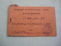 Couverture De Carnet EXCURSION TOURISME INTERNATIONAL PARIS ET VERSAILLES 1911 - Otros