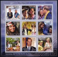 ** 2013, The Royal Visit, Complete Set, 36 Pieces In 4 Sheets, Mi. 1861-1896 / 84,- - British Solomon Islands (...-1978)